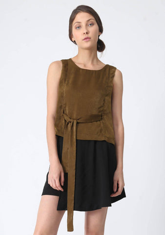 JEAN FOLD BACK TOP WITH SASH - OLIVE GREEN - SALIENT LABEL