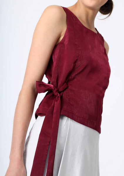 JEAN FOLD BACK TOP WITH SASH - CARMINE - SALIENT LABEL