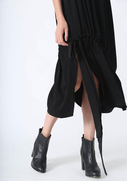 KAI MIDI DRAWSTRING DRESS - BLACK - SALIENT LABEL