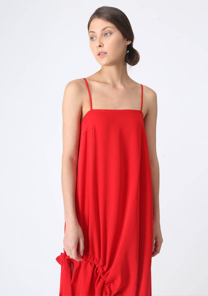 KAI MIDI DRAWSTRING DRESS - SCARLET - SALIENT LABEL