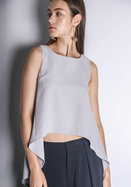 KETEL DIP BACK HEM TOP - SILVER CITY