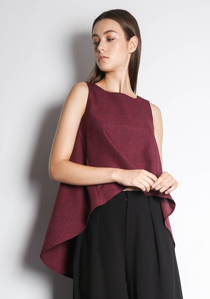 KETEL DIP BACK HEM TOP - RED/BLACK - SALIENT LABEL