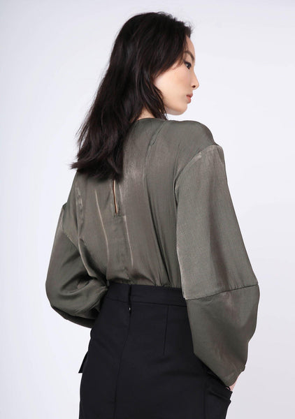 KIMBLE LANTERN SLEEVE BLOUSE - DARK OLIVINE - SALIENT LABEL