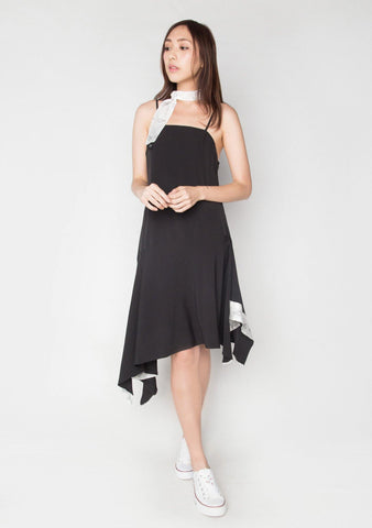 CAMI HANDKERCHIEF DRESS IN BLACK LCC - SALIENT LABEL