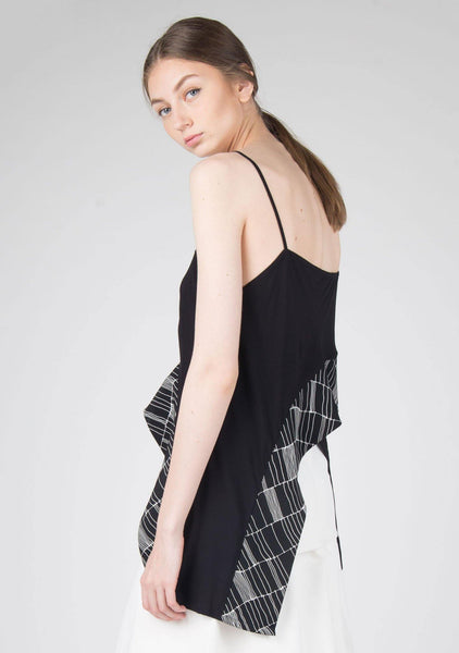 Ellie Asymmetric Cross Panel Cami Top in Black