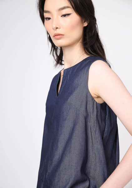 Mako Slit Neckline Tencel Top - Indigo - SALIENT LABEL