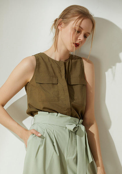 Malv Viscose Button-down Top with Slit Back in Khaki