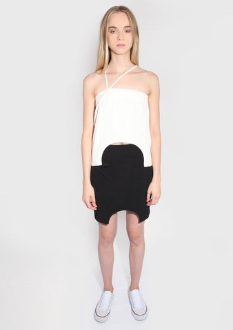 Marquise White Top with Semi-circle Cut Out