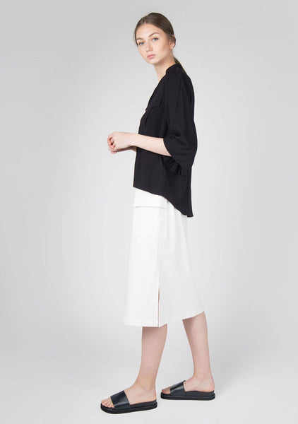 Phan Flare Sleeves Button Down Top in Black - SALIENT LABEL