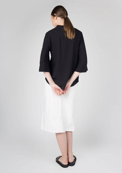 Phan Flare Sleeves Button Down Top in Black