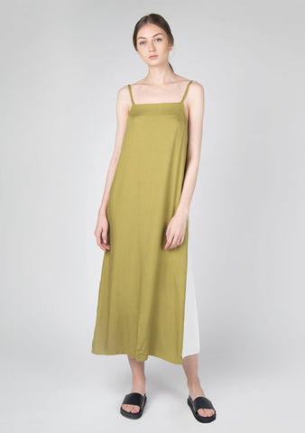 Cory V-back Panelled Maxi Dress in Moss Green