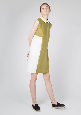 Kari Panel Dress in Moss Green