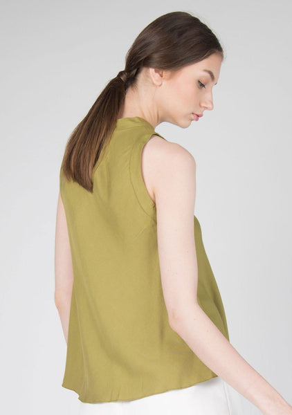 MIA RAYON FLARE TOP IN MOSS GREEN