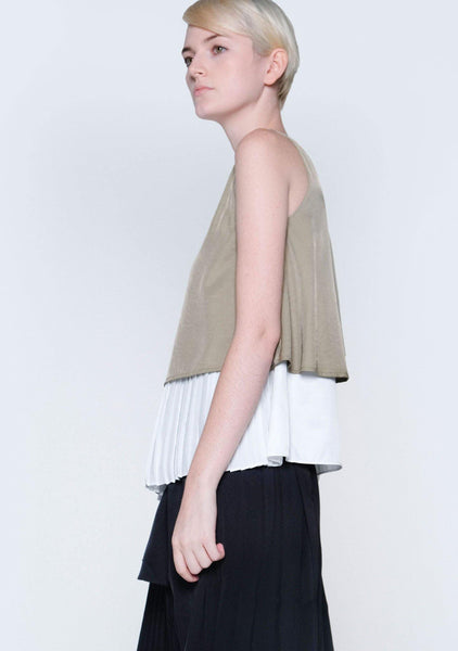 MICHON LAYERED REVERSIBLE TOP - MOSS - SALIENT LABEL