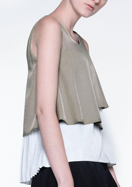 MICHON LAYERED REVERSIBLE TOP - MOSS