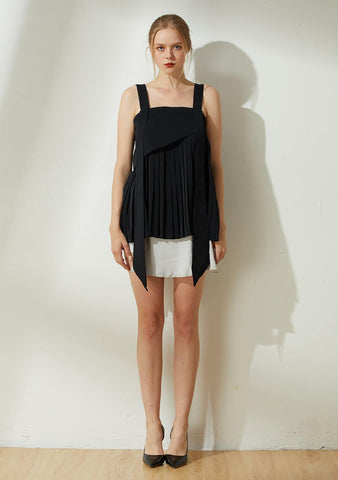 Mizuki Pleated Long Strap Top in Obsidian - SALIENT LABEL