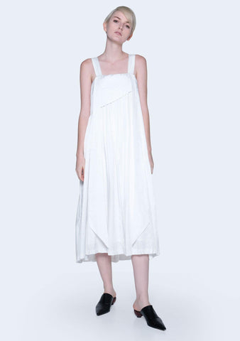 MIZUKI PLEATED STRAP DRESS - BRIGHT WHITE - SALIENT LABEL