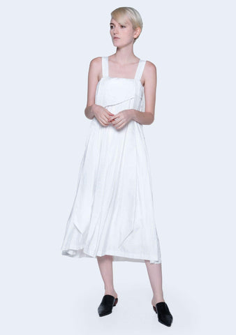 MIZUKI LONG STRAP MIDI DRESS - BRIGHT WHITE (PREORDER) - SALIENT LABEL