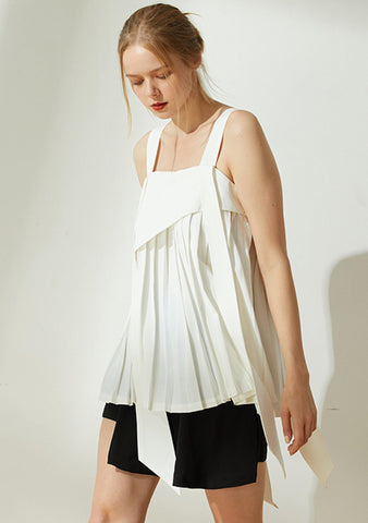 Mizuki Pleated Long Strap Top in White - SALIENT LABEL