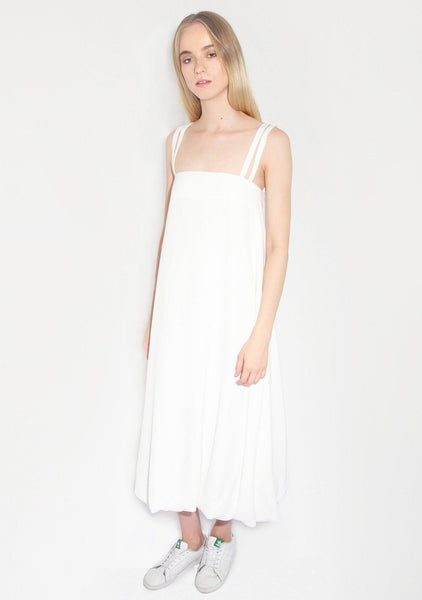Morrisson Maxi Dress in White Crepe - SALIENT LABEL