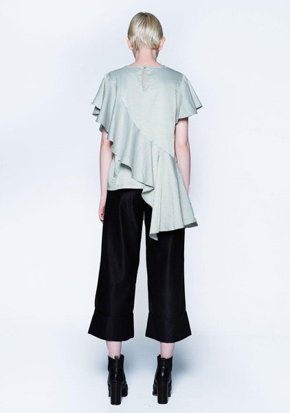 OPHELIA RUFFLE TOP - GREEN LILY - SALIENT LABEL
