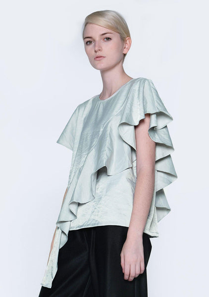 OPHELIA RUFFLE TOP - GREEN LILY