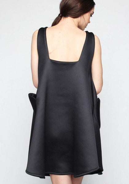 Orlly Thick Scuba Flare Dress - Black