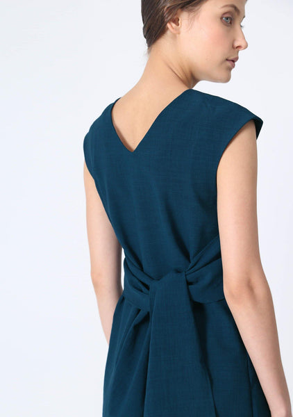 PALERMO TIE BACK DRESS - PEACOCK - SALIENT LABEL