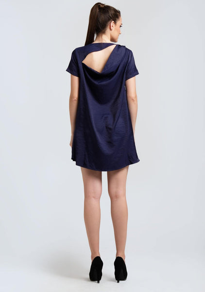 PASCALE COWL BACK SHORT DRESS - PRUSSIAN - SALIENT LABEL