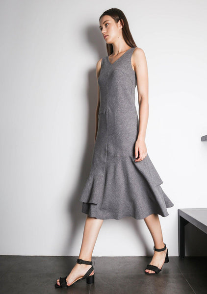 PIPA PANELED DRESS - GREY/BLACK - SALIENT LABEL