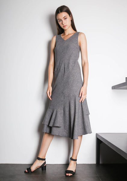 PIPA PANELED DRESS - MULTI (GREY/BLACK)