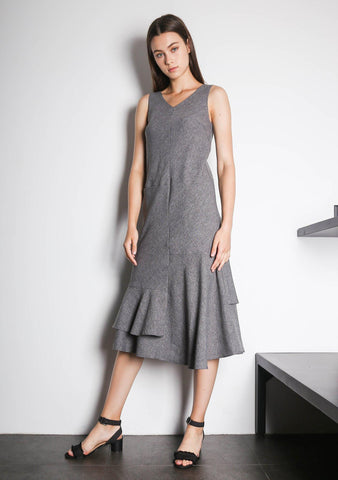 PIPA PANELED DRESS - MULTI (GREY/BLACK) - SALIENT LABEL