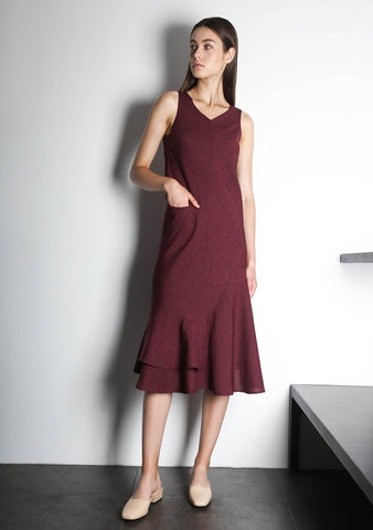 PIPA PANELED DRESS - RED/BLACK - SALIENT LABEL