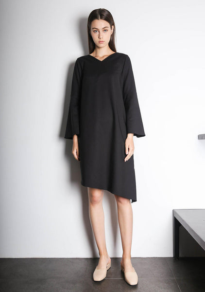 Qarina Asymmetric Slit Sleeves Dress in Black - SALIENT LABEL