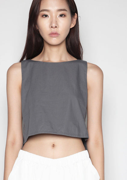 Ryleigh Side-slit Hi-Lo Hem Top in Dull Grey