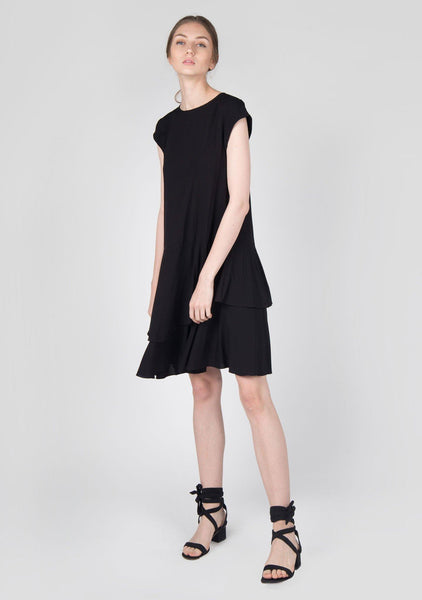 Rayon Dropwaist Dress in Black - SALIENT LABEL