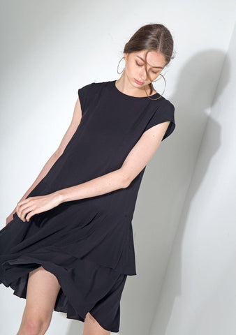Rayon Dropwaist Dress in Black