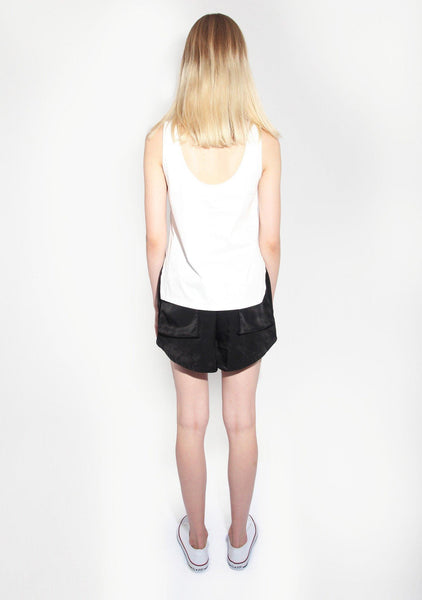Rosci U-back Top in Cotton Sateen White - SALIENT LABEL