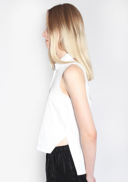 Rosci U-back Top in Cotton Sateen White