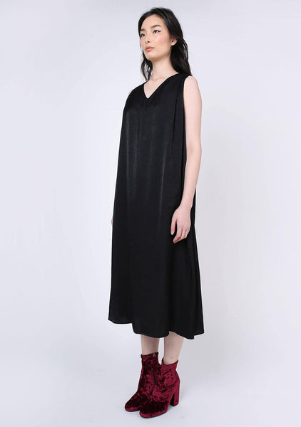 Savanna Cupro Flare Dress - Anthracite - SALIENT LABEL