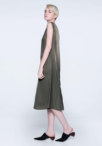 SAVANNA CUPRO FLARE DRESS - DARK OLIVINE - SALIENT LABEL