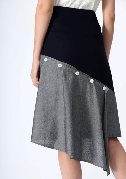 RAVELLO BACK DRAPED BUTTON DETAIL SKIRT IN GREY CLOUD - SALIENT LABEL