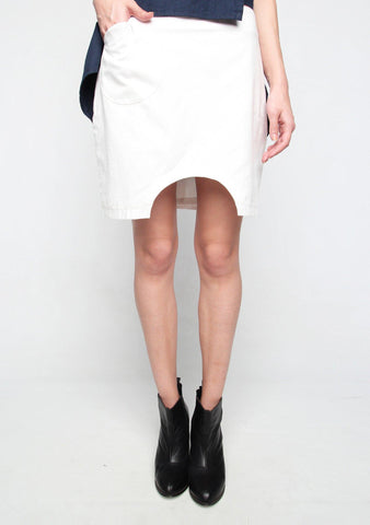 Marquise White Skirt with Semi-circle Cut Out