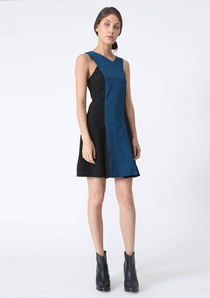 STILES ASYMMETRIC NECKLINE DRESS - PEACOCK - SALIENT LABEL