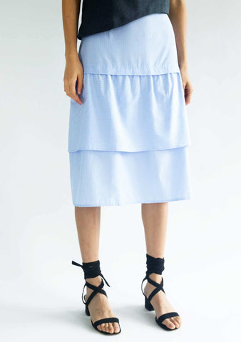 DENZEL TIERED SKIRT - STRIPE