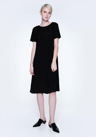 TARYN V-BACK SHORT SLEEVES MIDI DRESS - COAL - SALIENT LABEL