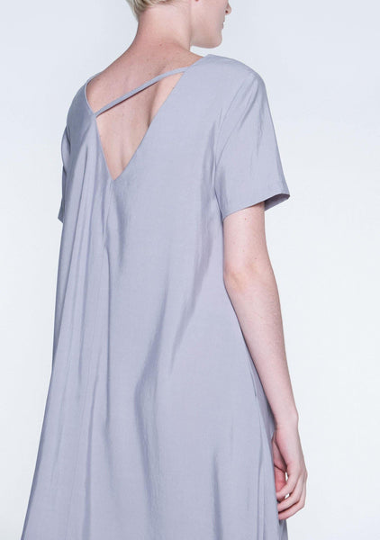 TARYN V-BACK SHORT SLEEVES MIDI DRESS - SHALE GREY - SALIENT LABEL