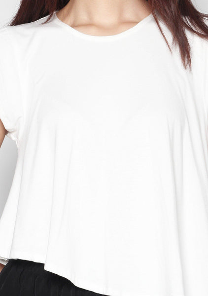 Daniella Jersey Tee in White - SALIENT LABEL