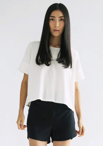 MORO BOXY TEXTURED TOP - CREAM - SALIENT LABEL