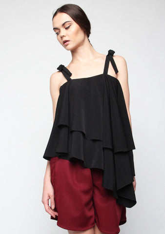 Izar Asymmetrical Layered Top in Black - SALIENT LABEL